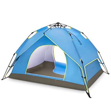 BATTOP 2-3 Person Family Camping Tent, 3 Usages Double Layer Waterproof Sun Shelter, Automatic Instant Pop Up Tents for Outdoor