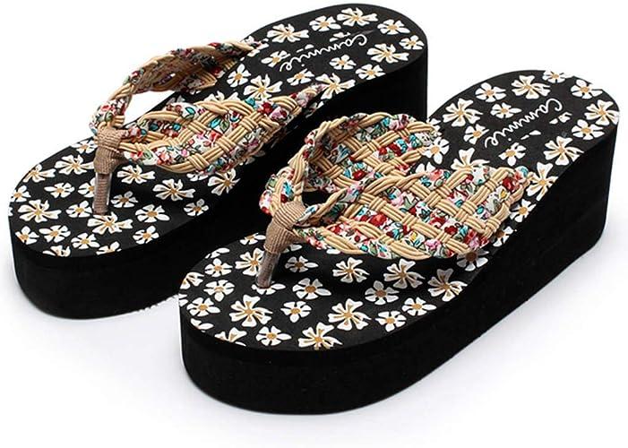 Fhuuly Slippers Femme Ete Sandales Femme Papillon Floral Wedges Tongs Sandales Pantoufles Chaussures de Plage