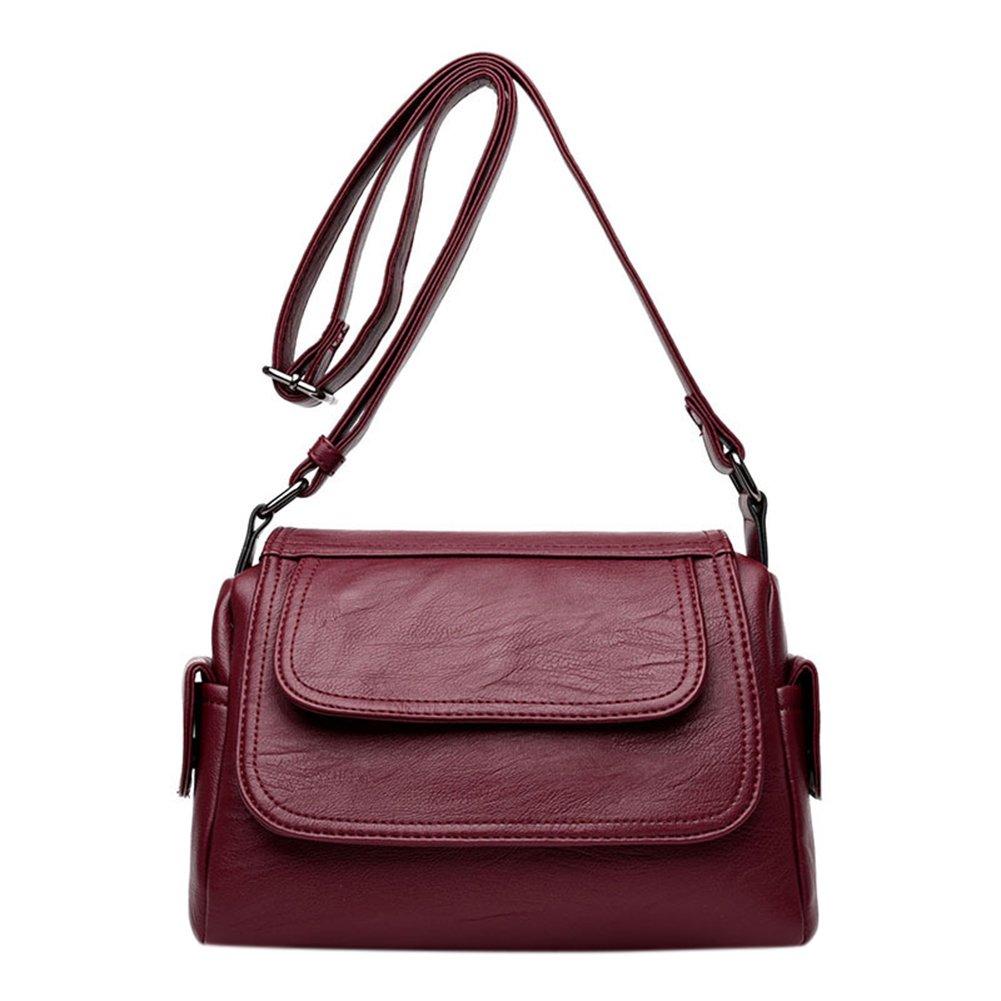 ShiningLove PU Leather Crossbody Bag Shoulder Bag Women Casual Fashion Satchel Shopping Bag Claret