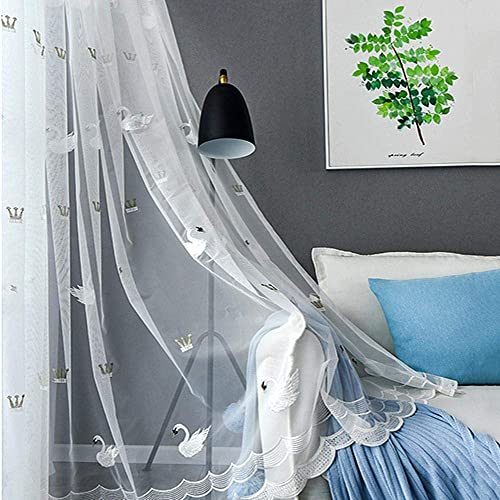 AiFish 1 Panel Rod Pocket Top White Sheer Curtains with Lace Bottom Little Swan Embroidered Girls Bedroom Window Sheer Voile Curtains Drapes Home Decor Window Treatment for Living Room Kid s Room
