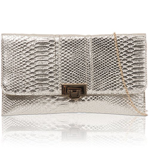Xardi London New donna metallico piatto finta pelle serpente frizione Ladies Prom party Evening Bags Metallic
