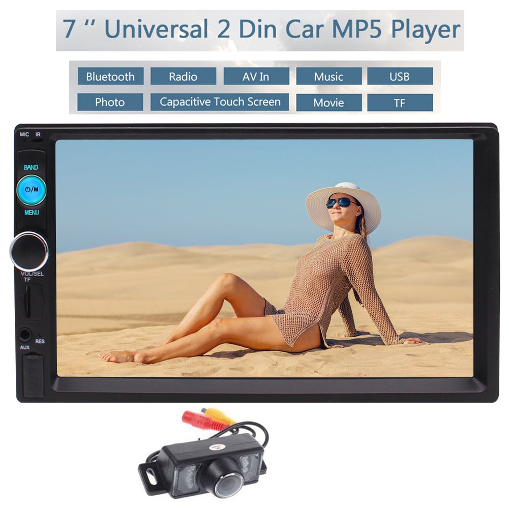 EinCar 7インチダブル2ディンのBluetoothカーステレオMP5プレーヤーデジタルタッチは車のオートラジオマルチメディアシステムのサポートBT // FM / USBのAux入力やリアビューカメラ+付属のリモコンを画面 B07881XFKB