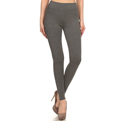 2ND DATE Women's Basic Cotton Stretch Leggings with Comfort Waistband at Women's Clothing store