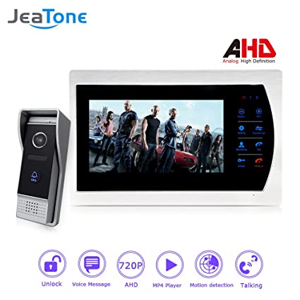 Jeatone Motion Detection And Voice Message 7u0026quot; AHD 720P Front Door  Video 1 Camera Video