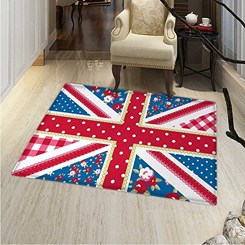 Shabby Chic Area Rug Carpet Cute British Flag in Floral Styl