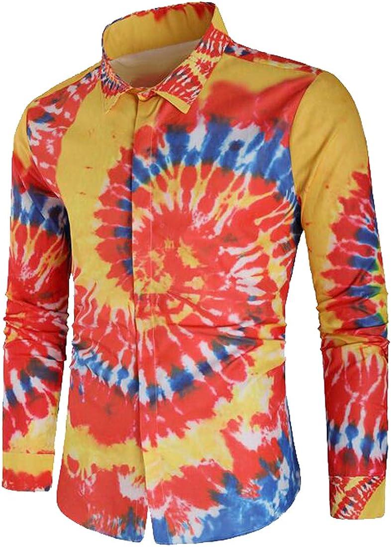 FSSE Mens Print Colorful Button Up Long Sleeve Splash Ink Print Dress Shirts