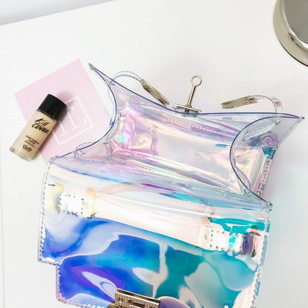 Tinksky Sac a bandouliere sac a main holographique brillant avec des chaines sac a main Chic pour faire du shopping