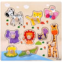 Uywgusag Toys & Games & Puzzle Cartoon Animal Car Wooden Peg Puzzles Board Toddler Preschool Educational Toy - Animal