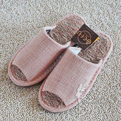blue Pink Toe Ouvert Hiver Pantoufles Slip Automne À Printemps La De Et Imperméable Toile Maison Couples Plancher Respirant qTE5aa