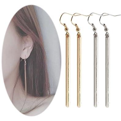 Amazon Com Bar Dangle Threader Drop Earrings Tassel Ear Studs Women