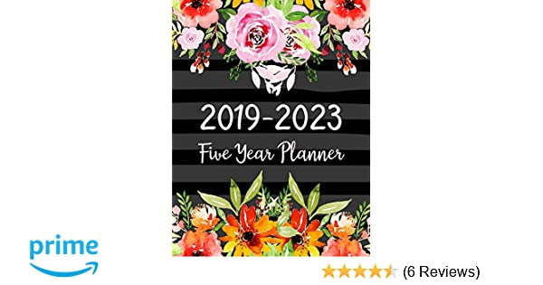 2019 2023 red roses five year planner 60 months planner and calendarmonthly calendar planner agenda planner and schedule organizer journal planner