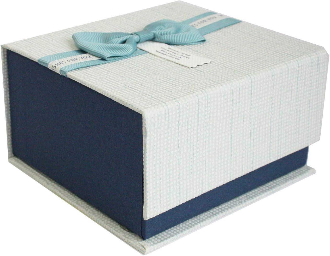 Emartbuy Lujo Rígido Caja de Regalo de Presentación Magnética Rectangular, Caja Azul Oscuro Con Tapa Texturizada, Arco de La Cinta y Interior Marrón Chocolate: Amazon.es: Oficina y papelería