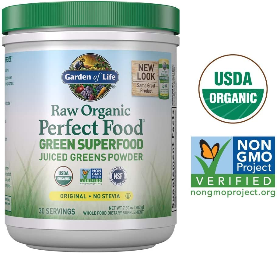 Garden of Life Raw Organic Perfect Food Green Superfood Juiced Greens Powder – Original Stevia-Free, 30 Servings Packaging May Vary – Non-GMO, Gluten Free Supplement – Alkalize, Detoxify, Energize
