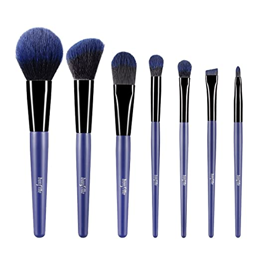 Bonfille Essential Makeup Brushes 7 Pieces Set Foundation Blending Blush Concealer Eye Shadow Lip Face Contour Brush Kit, Blue