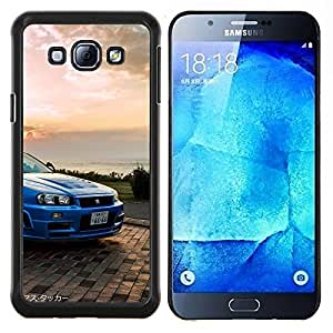 GTR Skyline R34- Metal de aluminio y de plástico duro Caja del teléfono - Negro - Samsung Galaxy A8 / SM-A800