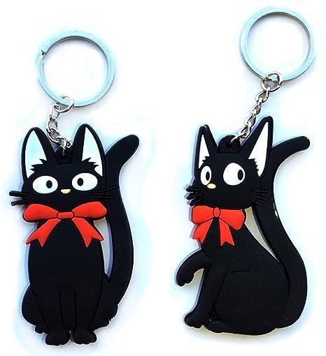 KIKI Servicio de entrega Jiji de gato PVC Llavero Negro Kitty Charms llavero 2PCS/Lot