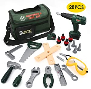 BeebeeRun Kids Tool Set with Electronic Cordless Drill 28 Pcs Pretend Play Real Construction Accessories with Tool Bag for Toddlers Age 3 4 5 6 7 Year Old Boy Toys
