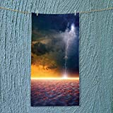 SOCOMIMI Super Absorbent Towel Decor Apocalyptic Sky View End of The World Majestic Mystic Sky Solar Flames Ideal for Everyday use