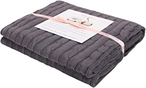 Adory Sweety 100% Cotton Decorative Knit Cable Throw Blanket Super Soft Warm for Couch Chairs Beach Sofa,50 x 60 inch,As Gift with Free Washing Bag (Grey)