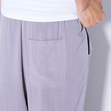 Zhuhaitf Moda Loose Straight pantalones harén Hombres Transpirable Lino Pants 3/4 Length Bottoms para Adolescentes Casual: Amazon.es: Ropa y accesorios