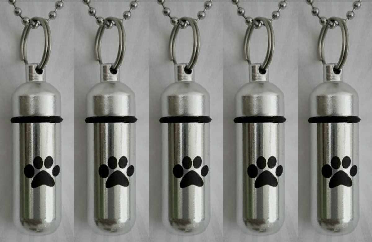Pasco Specialty Product Five Pet/Dog/Cat - Personal Cremation URN Keepsakes with Large Laser Engraved Paws - Includes Velvet Pouches, Ball-Chains & Fill Kit