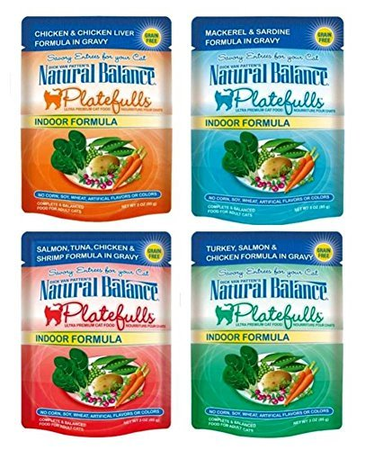 (Dick Van Patten's Natural Balance Platefuls Grain Free Ultra Premium Indoor Formula Cat Food 4 Flavor 8 Pouch Variety Bundle)