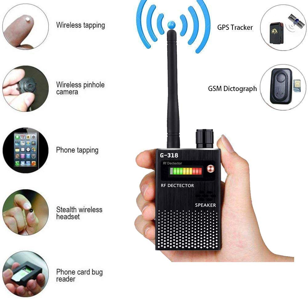 RF Bug Detector,Detect Wide Range Radio GPS Frequency,High Sensitive Wireless Hidden Camera Sweeper (Black)