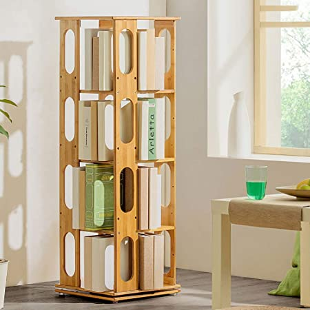 ZXY 360° Giratorio Bambú Estante para Libros, 6 Niveles Estante Ajustable Estrecha Moderno Multi-Capa Repisa Escalera Estante Abierto Suelo Simple Niños Estudiantes-E 37x37x115cm(15x15x45): Amazon.es: Hogar