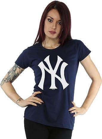 Majestic mujer MLB New York Yankees Logo Camiseta Medium marino oscuro: Amazon.es: Ropa y accesorios