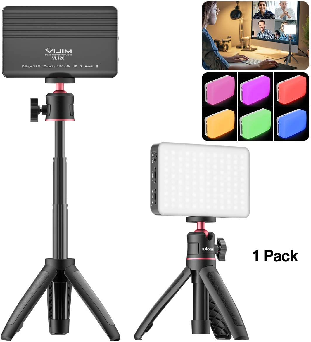 Conference Table Lighting Tripod Kit with VL120 Video Light + Mini Extendable Tripod, Remote Working, Zoom Calls, YouTube, Live Streaming Accessories Compatible with MacBook Tablet Laptop Desktop
