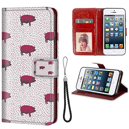 iPhone 5, iPhone 5S, iPhone SE Wallet Case, Animal Modern Pop Art Style Domestic Swine Pig Sketch and Uneven Diagonal Lines Dark Magenta and T PU Leather Folio Case with Card Holder and ID Coin Slot (Line Pig Art)