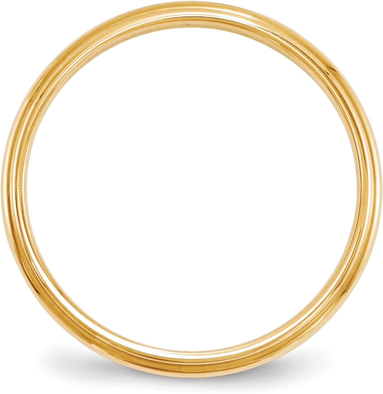 14k Yellow Gold 2.5mm Half Round Edge Wedding Band Ring Fine Jewelry Ideal Gifts For Women