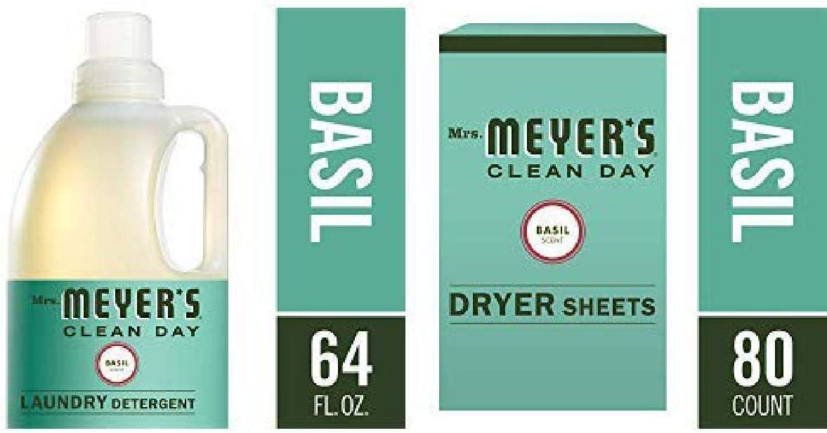 Mrs. Meyer's Laundry Set, Basil, 2 ct: Laundry Detergent (64 fl oz), Dryer Sheets (80 ct)