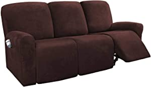 HUANXA Stretch 3 Seater Reclining Sofa Slipcover, Velvet Recliner Sofa Cover for Armchair Non-Slip Furniture Protector with Elastic Bottom-Brown-Sofa (8 PCS)