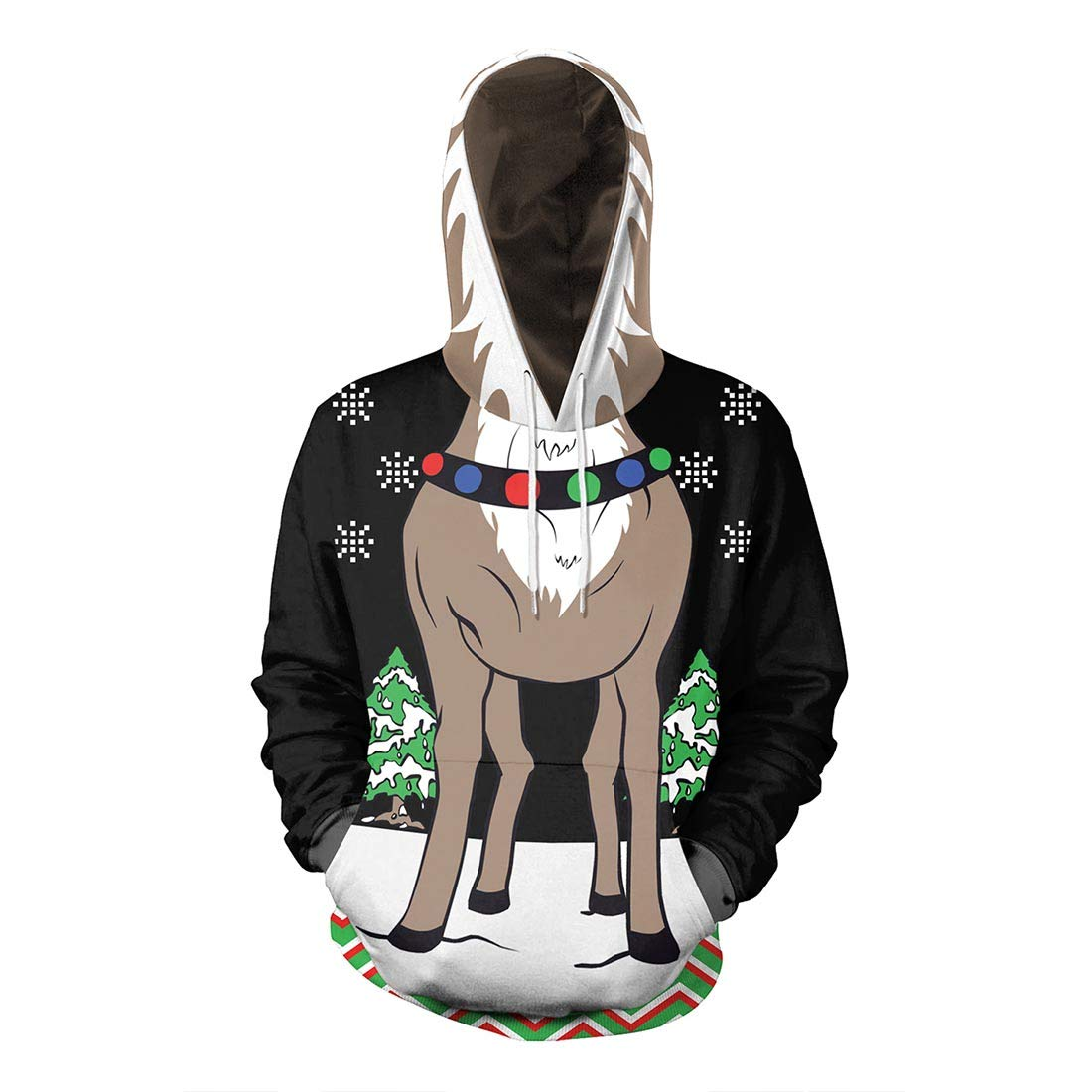 Unisex Christmas Ugly Hoodie Funny 3D Printed Snowman Sweatshirt Hooded Sweater Pullover with Big Pockets