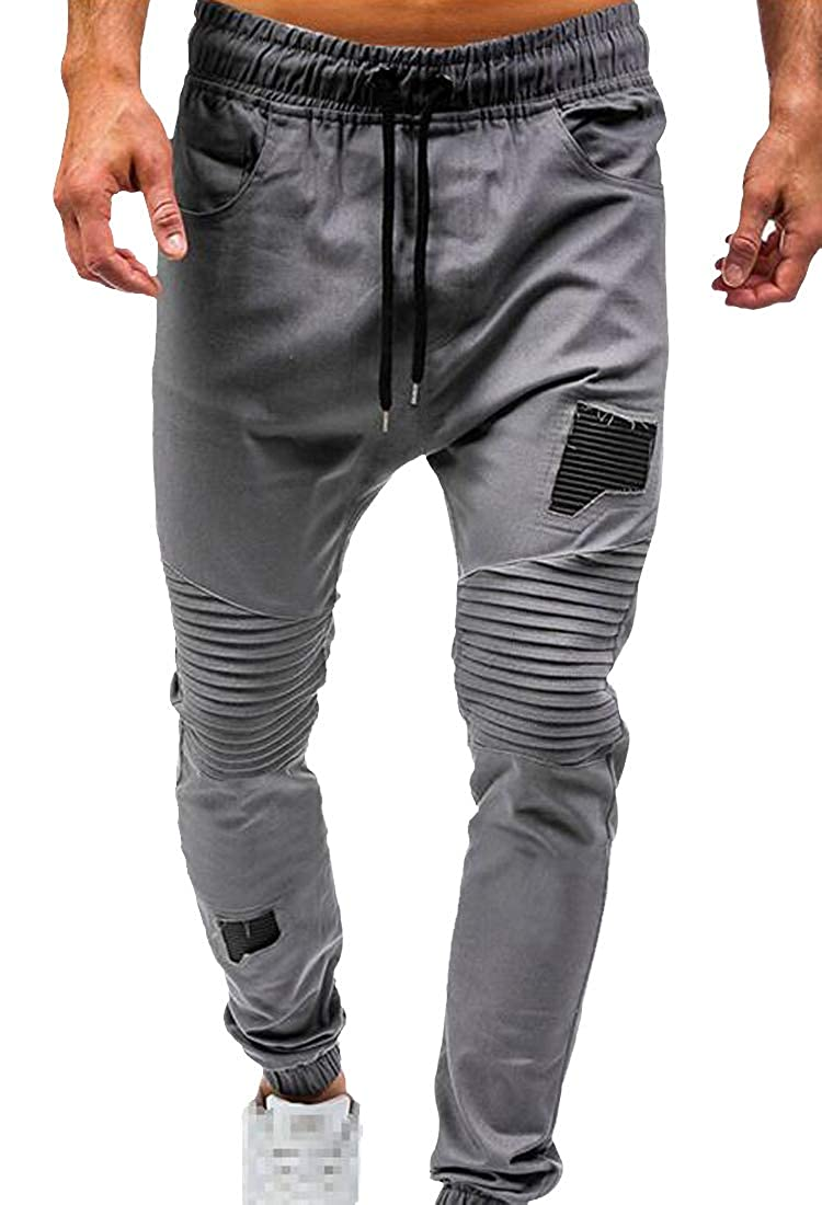 Sweatwater Mens Casual Patchwork Waist Drawstring Elastic Waist Ruched Jogger Pants