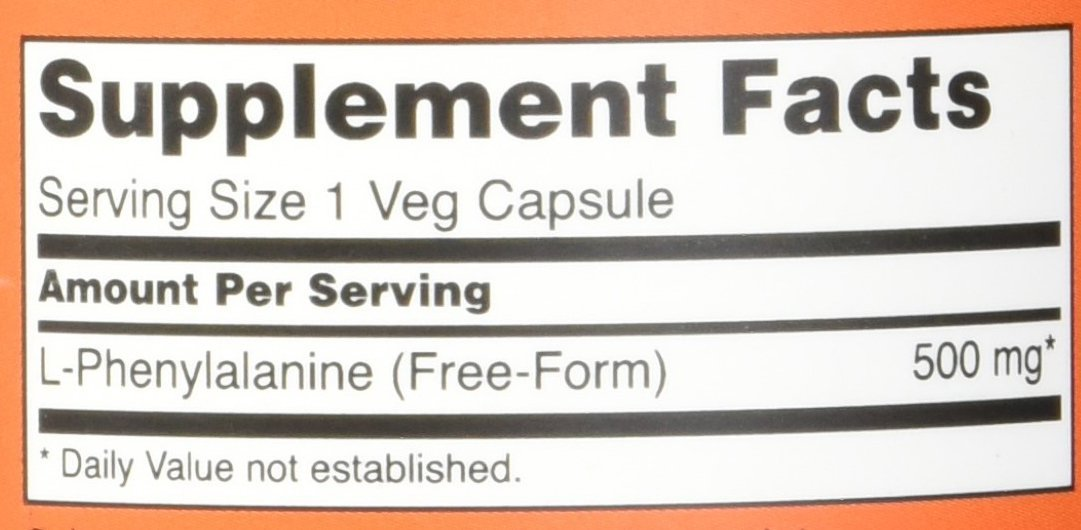 NOW Foods L Phenylalanine 500mg Capsules Image 2