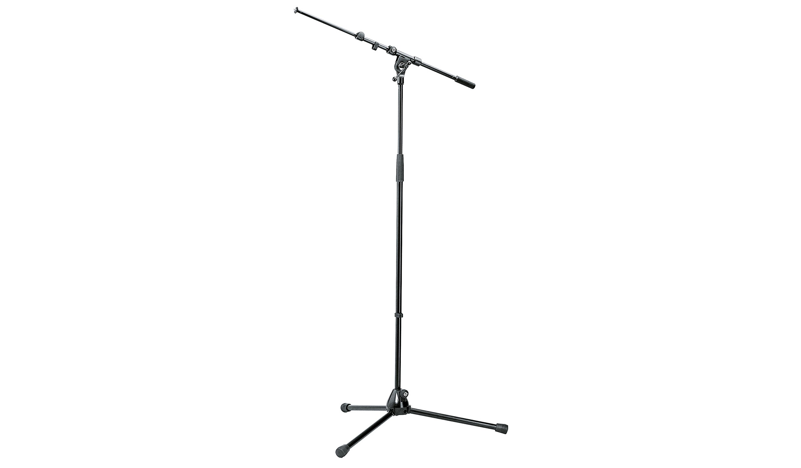 K&M Micorphone Stand with Telescopic Boom Arm is Sturdy, Zinc Die-Cast Tripod Base with Foldable Legs. Black 21090 by K & M