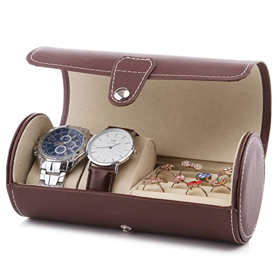 Reloj Caja de Almacenamiento de Cuero Cilindro 3 bits de Viaje Caja de consolidación de Almacenamiento de joyería portátil: Amazon.es: Relojes