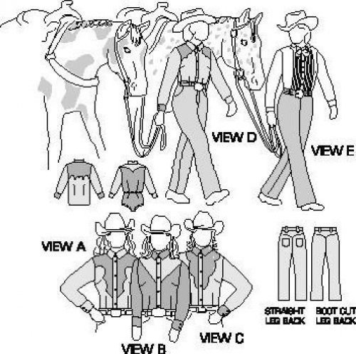 Field's Fabrics Suitability 3790 Womens Western Show Shirts and Pants Equestrian Sewing Pattern
