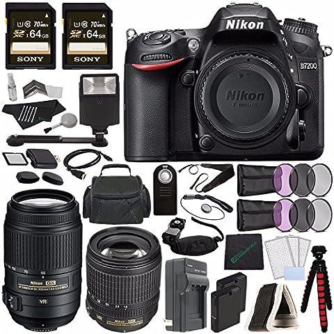 Nikon D7200 DSLR Camera (Body Only) + Nikon AF-S DX NIKKOR 18-105mm f/3.5-5.6G ED VR Lens + Nikon AF-S DX NIKKOR 55-300mm f/4.5-5.6G ED VR Lens + Battery + Sony 64GB SDXC Card + Remote + Flash (Nikon D7200 Body)