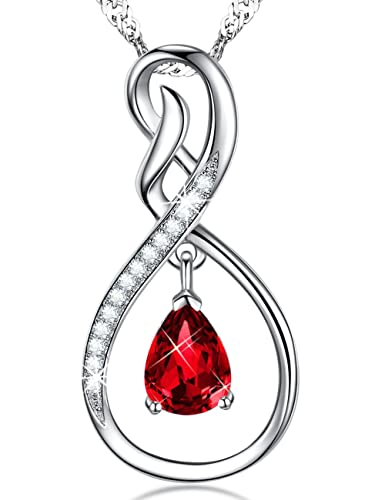 Garnet Infinity Love Pendant Necklace Jewelry January Birthstone Birthday  Valentines Day Anniversary Gift For Women Wife