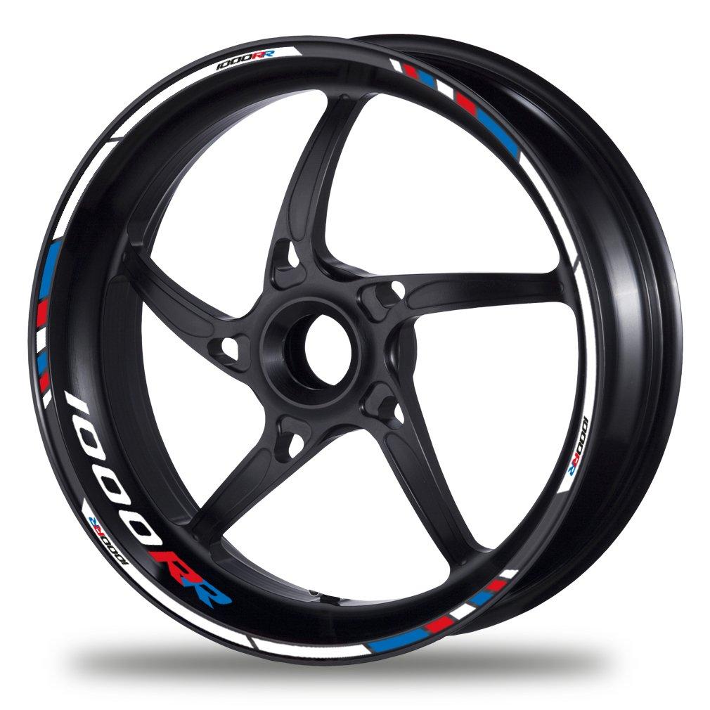 FELGENRANDAUFKLEBER passend f/ür BMW S 1000 RR Motorrad Moto GP Style blau-rot GP Race