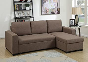 1PerfectChoice Modern 2 Pcs Sectional Sofa Pull Out Bed Under Seat Storage  Coffee Polyfiber