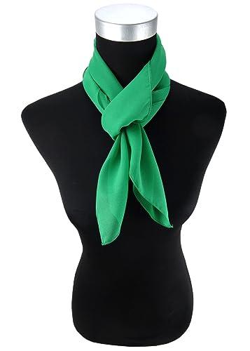 TigerTie signore chiffon foulard - verde Uni dimensione 90 cm x 90 cm - sciarpa