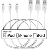 MaGeek [Pack of 3pcs] 3.3ft Apple MFi Certified Lightning to USB Cable Data Cable Charge Cord for iPhone X 8 8 Plus 7 7 Plus 6S 6 Plus 5S 5C 5, iPad Pro Air Mini, iPod Touch(White)