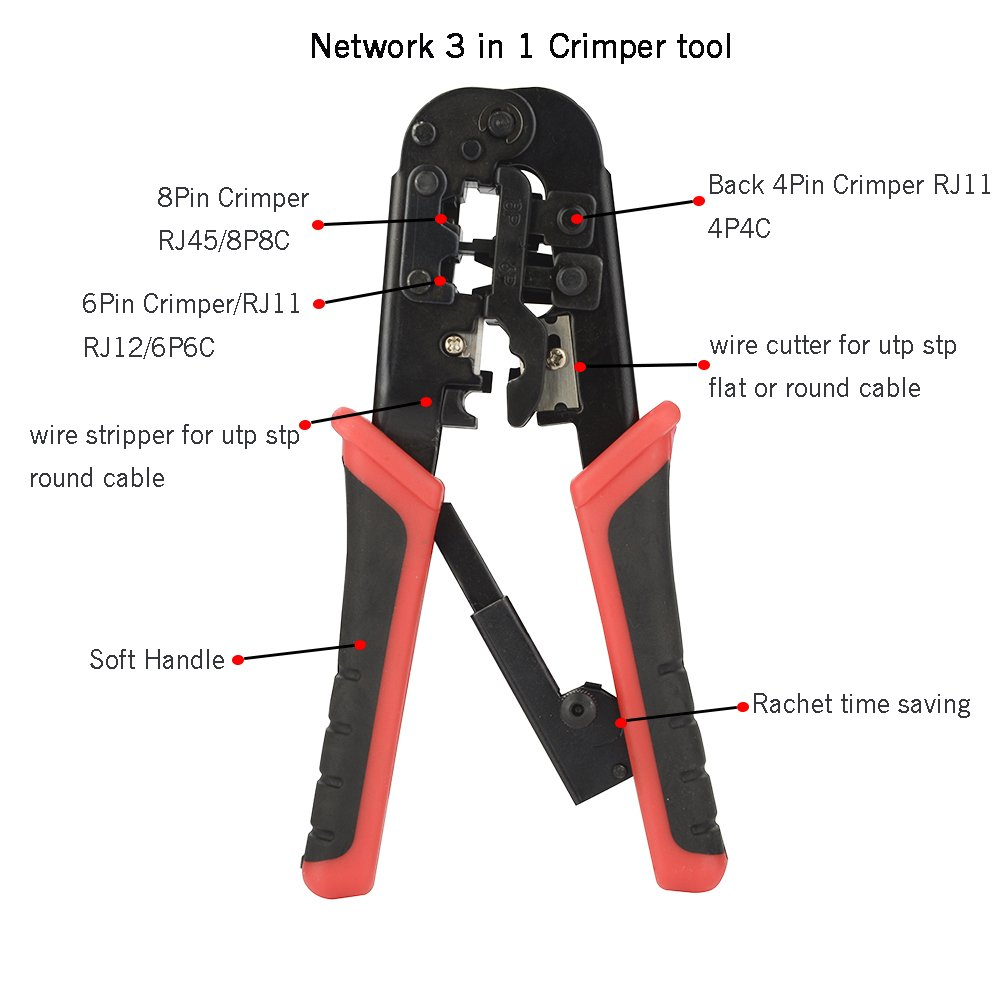 Ethernet Tool Kit Matgo 6 Sets Ratcheting Crimping Cutter Rj11 And Rj45 Autos Wiring Termination Instructions Diagrams Rj12 Punch Down Lan Cable Wire Tester Network Stripping Pliers For