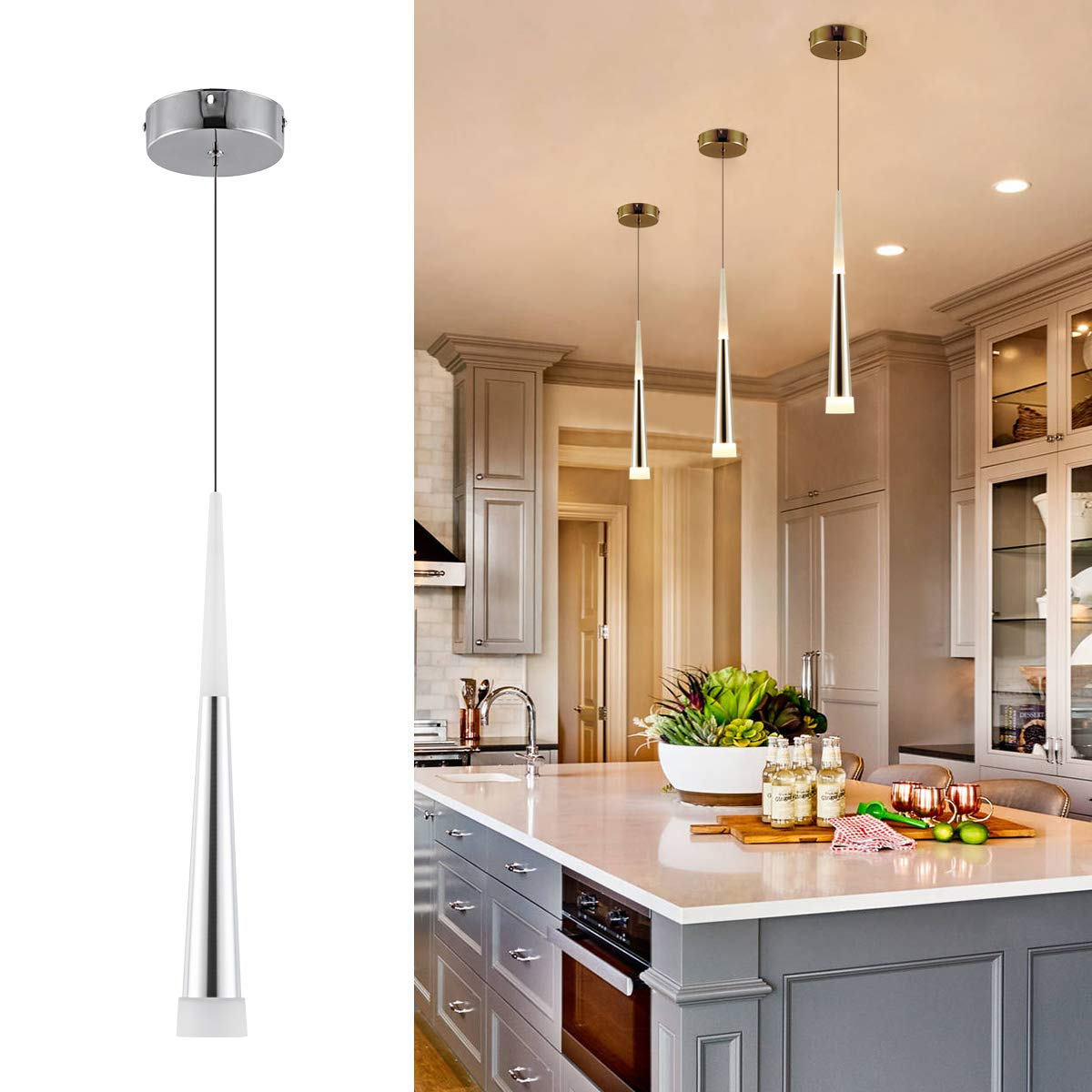 Harchee modern led pendant light with acrylic shade adjustable cone mini pendant lighting for kitchen island bedroom dining room bar 6w warm white