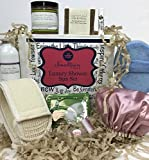 Spa Luxury Shower Gift Set for Women - Organic Sugar Scrub, All Natural Handmade Soap and Lip Balm, Loofah Back Scrubber, Talc-Free Lavender Body Powder, Facial Masks, Adorable Shower Cap and More