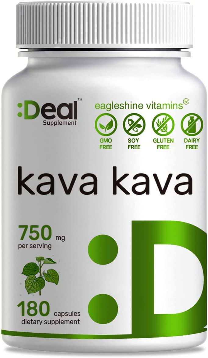 Deal Supplement Kava Kava Piper methysticum Extract, 750mg, 180 Capsules, Stress Anxiety Relief, Calm Mood, Support Restful Sleep and Pain Relief – 90 Days Supply